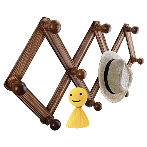 (Wooden Expandable Coat Rack,Wall Mounted Hanging Hat/Scarf/Jewelry Hanger for Entrance,Bedroom,Living Room,Utility Hooks Home Decor 10 Hook/Set)