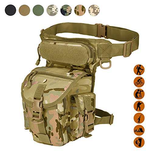 Military Tactical Drop Leg Bag Tool Fanny Thigh Pack Leg Rig Utility Pouch Paintball Airsoft Motorcycle Riding Thermite Versipack, Black/Tan/Army Green/Camouflage.7 Colors (CP Camouflage) - Airsoft Camo Paint