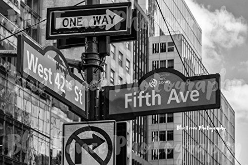 Photography West 42nd St & 5th Ave Street Sign, NY Public Library, NYC Black and White Art Print Home Wall Decor New York City, Sizes Available from 5x7 to - York New 42nd Ny Street