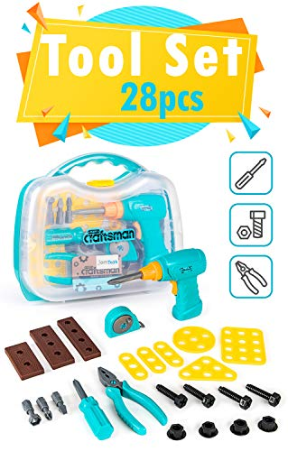 Kids' Tool Set with Functioning Toy Drill and Storage Case - Fun Pretend Play Tool Kit for Boys, Girls, Toddlers - Great Birthday Idea (28-Pieces) ()