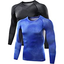 Neleus Men's 2 Pack Cool Dry Skin Baselayer Long Sleeve Compression T Shirts,5026,Black,Dark Blue,M