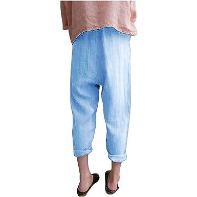 cinnamou Pantalones Mujer, Casual Pantalones Lino Ancho Talla ...