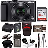 Nikon Coolpix A900 Digital Camera (Black) with 32GB Card and Battery Pack Bundle