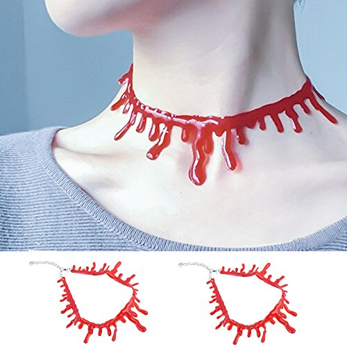 Kangkang@ 2pcs Horror Halloween Fancy Dress Fun Joke Choker Costume Blood Drip Necklace for Women Ladies Accessories Props]()