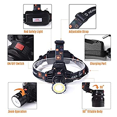 LP014 Ultra Bright Headlamp Flashlight,3 Modes High Lumen IPX4 Waterproof Zoomable with18650 USB Rechargeable,Cree Led Head Light for Hiking Camping Hunting