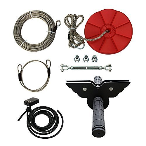 Zip line Kit 95' Trolley Pulley Backyard Children Kids Flying Toys for Fun Zipline accessories Series with Brake Block Bungee Cord Kit,Red Swing Seat Ride on (Black Trolley) by Dking