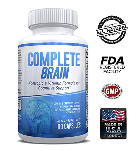 CompleteBrain: Powerful Nootropic and Brain Supplement - Improves Memory, Mood, Focus, Clarity and Creativity 30 Servings by eXplicit Supplements