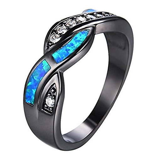 CHIC Blue Fire Opal Finger Rings For Women Lady Black Gold Filled Wedding Party Zircon Ring - Sunglasses Another For Word