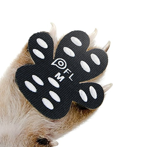 "Dog Paw Protection Anti-Slip Traction Pads with Grips, 24 Pieces Self Adhesive Disposable Dog Shoes for Hardwood Floor Indoor Wear (M-1.50""x1.73"", 11-20 lbs)"