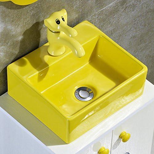 Mangeoo Grifo lavabo, jardín de infantes, niños, el Grifo lavabo de cerámica, dibujos animados grifo caliente y fría, color lavabo, fregadero, Childrens platform, grifo de cuenca,toque amarillo: Amazon.es: Bricolaje y herramientas