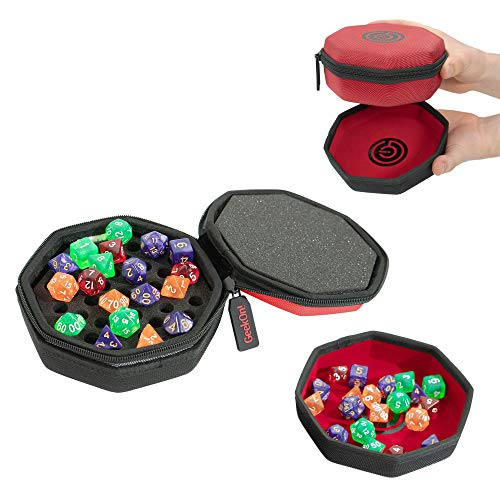 Protective Padded Dice Case & Integrated Felt Dice Tray for Board Games, Tabletop Games and RPGs - Holds & Protects Over 75 Dice! Perfect for Game Night! (Red)