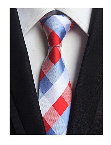 Check Woven Silk Tie - Men's Red Blue White Checks Jacquard Woven Silk Tie Valentine's day Necktie Gift