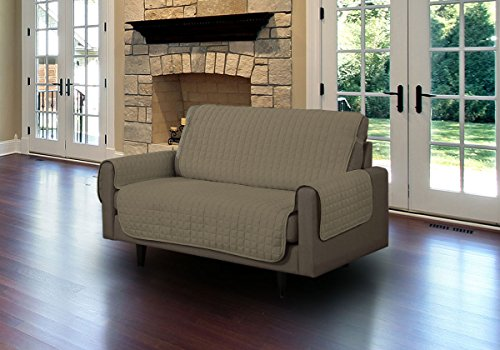 Linen Store Quilted Microfiber Pet Dog Couch Sofa Furniture Protector Cover w/Tucks & Strap (Loveseat, (Mocha Microfiber Loveseat)