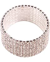 MBOX Brand Bridal Rhinestone Stretch Bracelet 9-row Silver Tone - Ideal for Wedding and Party
