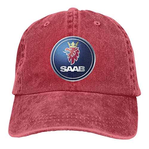 Men Vintage Adjustable Casquette Customized General Motors Saab Logo Fashion Cotton Baseball Cap, Red