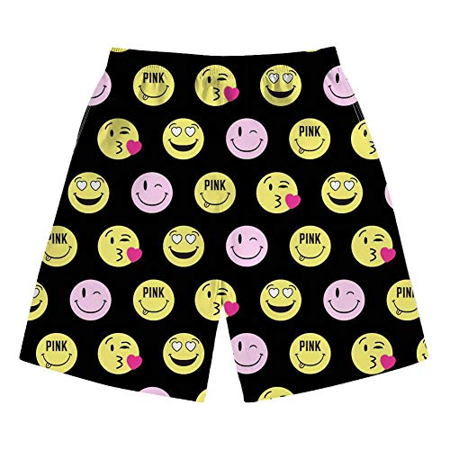 INSTANTARTS Men's Yellow Cartoon Round Characters Emoji Beach Board Shorts Quick Dry Swim Trunk L -