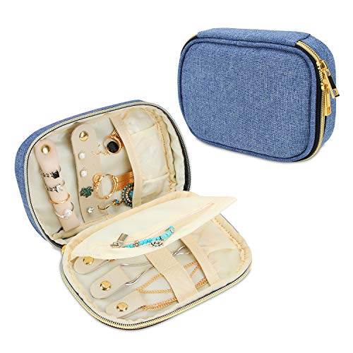 Teamoy Small Jewelry Travel Case, Portable Jewelry Organizer Bag for Earrings, Necklace, Rings and More, Small, Blue-(Bag - Jewelry Roll Travel