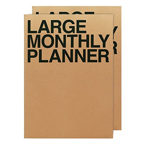 JSTORY Large Monthly Planner Set of 2 Stitch Bound Flat Lay Year Round Flexible Cover Goal/Time Organizer Thick Paper Eco Friendly Customizable A4 16 Months 36 Pages 18 Sheets Kraft