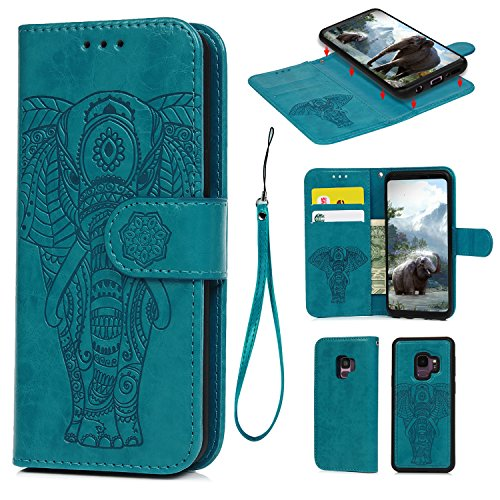 Galalxy S9 Wallet Case with Card Holder, Premium PU Leather Kickstand Card Slots Case, Double Magnetic Clasp and Durable Shockproof Cover for Galalxy S9 (Embossed Elephant-Blue) - Embossed Elephant