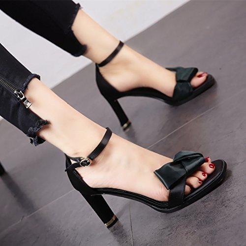 Bolas Altos YMFIE Sandalias Dedos Tacones veraniega black Moda Partes Bodas satén de Parte rP1rw8