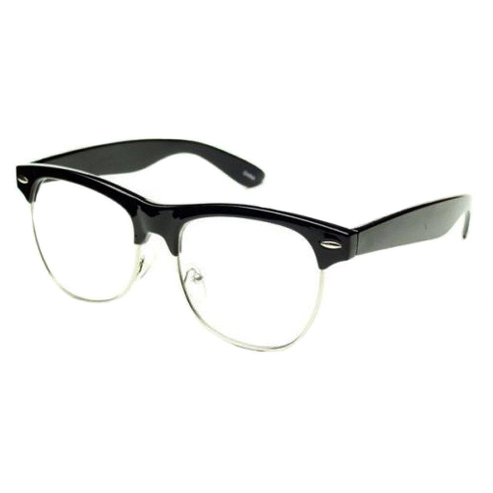Black CLUBMASTER Half Frame CLEAR LENS GLASSES Black Silver Color Vintage Style Retro