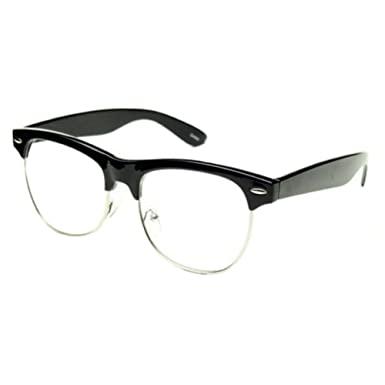 dfc963f19f Image Unavailable. Image not available for. Color  Black CLUBMASTER Half Frame  CLEAR LENS GLASSES Black Silver ...