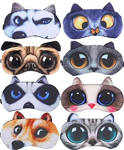 8 Pack Cute Animal Funny Sleep Eye Mask for Sleeping Cat Dog Soft Plush Blindfold Sleep Masks Eye Cover Eyeshade for Kids Girls Men Women Plane Travel Nap Night Sleeping (Best Blindfold For Sleeping)