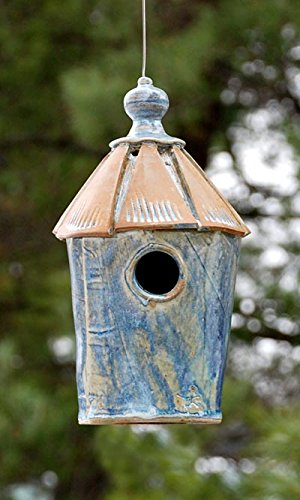 rd Cottage Bird House, French Blue (Stoneware Bird)