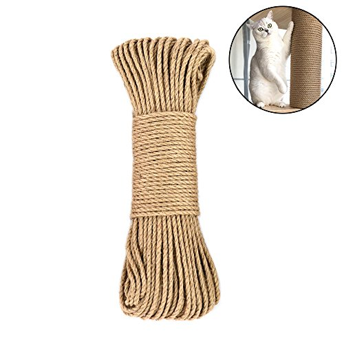 - Amakunft Hemp Rope for Cat Tree and Tower, DIY Cat Scratcher Sisal Rope for Cat Scratching Post Tree Replacement, Playing Flexible Scratching Pad (0.25inch x 66ft)