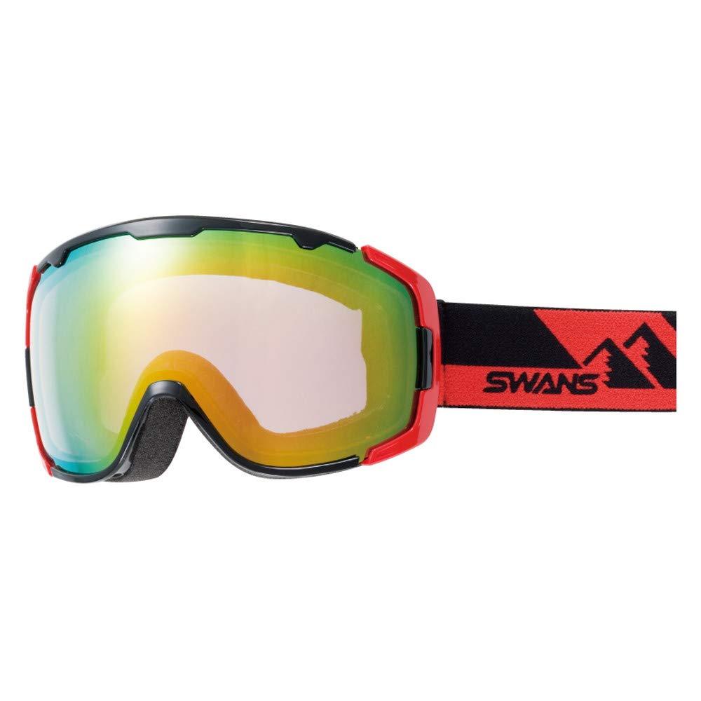 SWANS(スワンズ) スキー スノーボード ゴーグル くもり止め ミラーレンズ 150 ブラック×レッド/オレンジミラー×ブライトピンク