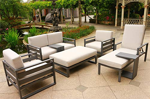 Angelina 7 Piece Patio Aluminum Deep Seating Set (Cast Silver Sunbrella Cushions)