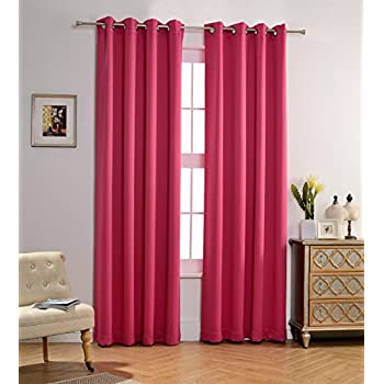MYSKY HOME Solid Grommet Top Thermal Insulated Window Blackout Curtains For Living Room 52 X