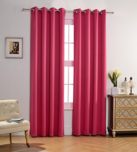 MYSKY HOME Solid Grommet top Thermal Insulated Window Blackout Curtain for Living Room, 52 by 84 inch, Fuschia Pink (1 panel) (Pink Living Room)