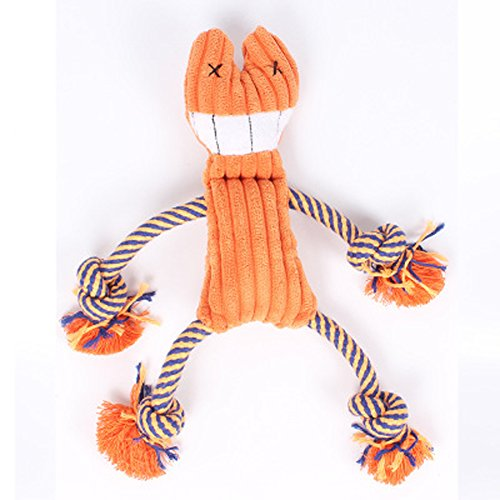 Pet Knots Squeak Plush Dog Toy Cat Toy,Puppy Chew Toy with Ropes,Teeth Clean Doll,Eco-Friendly Fabric Also For Kids Children-Orange (Gentle Leader Treats)