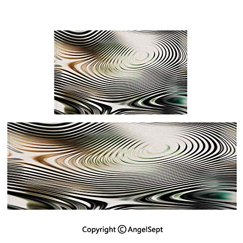 All Weather Door Mats 2piece Suit,Geometrical Modern Zebra Like Pattern with Circled Details Artwork 20