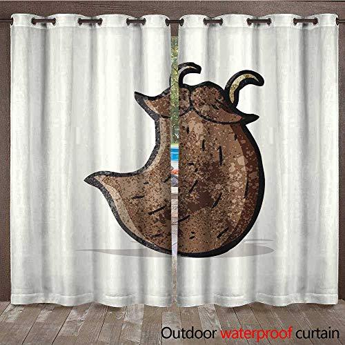 RenteriaDecor Outdoor Balcony Privacy Curtain Fake Beard Cartoon W96 x L108