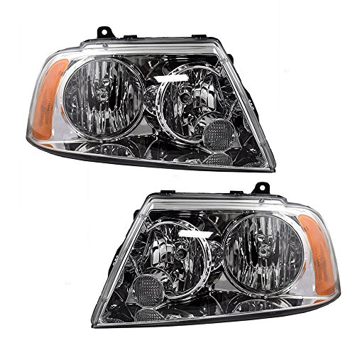 Driver and Passenger Halogen Headlights Headlamps Replacement for Lincoln SUV 6L7Z 13008 AB 6L7Z 13008 AA AutoAndArt