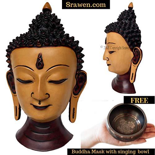 (Tibetan Thai Buddha Head Bust Wall Art Sculpture - Shakyamuni Medicine Buddah Tara BubbleHead Statue Wall Hanging Mask,Antique )