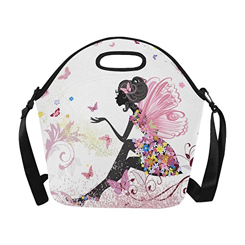 InterestPrint Large Insulated Lunch Tote Bag Fairy butterflies Pink Reusable Neoprene Cooler, Flowers Floral Colorful Portable Lunchbox Handbag with Shoulder Strap