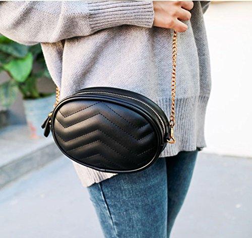Black-PU Leather Fanny Pack Waist Bag 2 Ways Stylish Qualited Belt Bag Cellphone Bag Chain Shoulder Bag