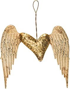 Distressed Rustic Home Wall Centerpiece Decor Wings & Heart Metal Decor