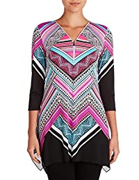 Plus V-Neck Tunic With Zipper MagentGeo 1X