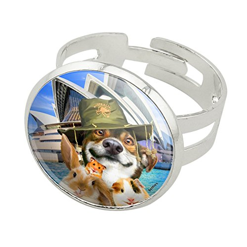 Graphics and More Sydney Opera House Australia Dog Rabbit Guinea Pig Silver Plated Adjustable Novelty Ring