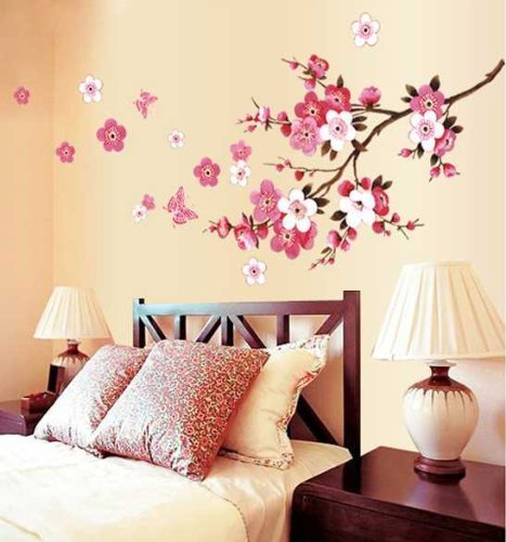 Pictures Blossom Cherry (Cukudy Cherry Blossom Decal Removable Vinyl Art Wall Decal)