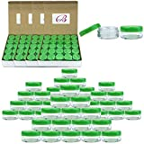 (Quantity: 500 Pieces) Beauticom 5G/5ML Round Clear Jars with GREEN Lids for Scrubs, Oils, Toner, Salves, Creams, Lotions, Makeup Samples, Lip Balms - BPA Free