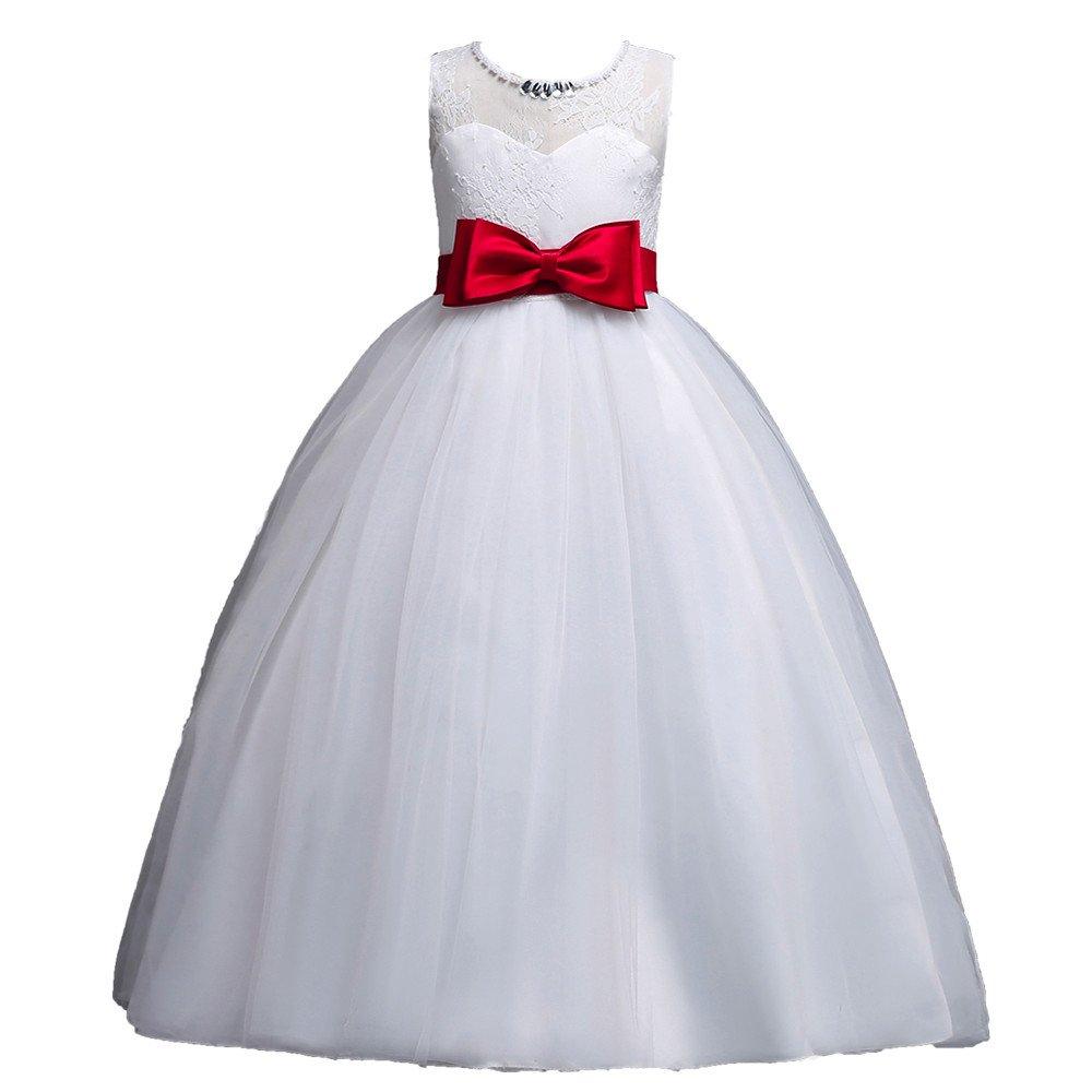 7ccbc1eca119 Amazon.com  Girls Dress Bowknot Princess Skirt Party Sleeveless ...