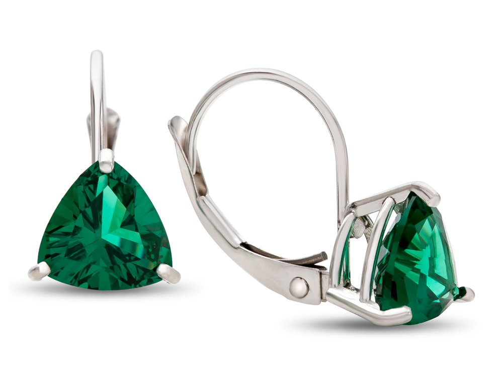 Finejewelers 7x7mm Trillion Simulated Emerald Lever-back Earrings 14 kt White Gold