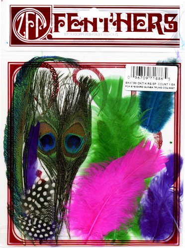 Zucker Feather Products Peacock Eye/Sword Decorative Feather, Guinea Plumage/Hackle/Schlappen Mix (Peacock Eye Mask)