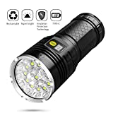 Sondiko 10000 Lumen Super Bright Led Flashlight, Rechargeable 12xLEDs 4 Modes Torch