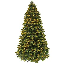 Christmas tree/Pre-lit Christmas tree/Round Tip Winter Spruce Artificial Christmas tree/Prelit Christmas tree with LED light and Realistic branch tips (Prelit 6')